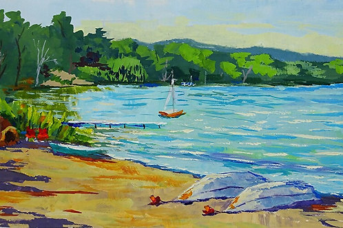 'Lakeside Afternoon' Framed Gouache by Ruth Kitchen