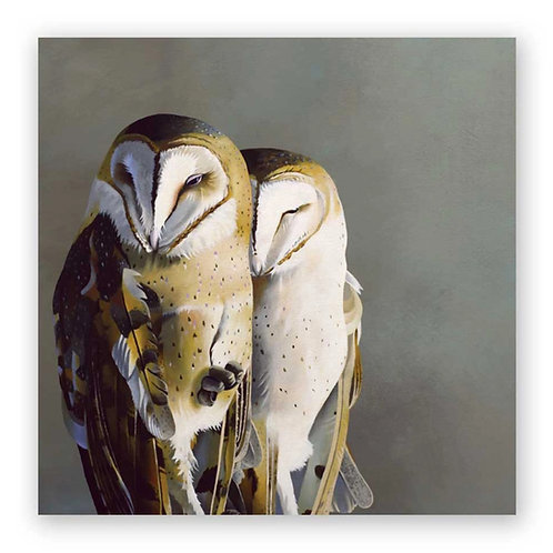 10 x 10 Barn Owl Pair on Rock Panel Wings on Wood by The Mincing Mockingbird