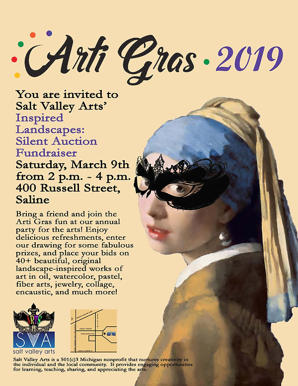 2019 artigras flier with girl and mask w