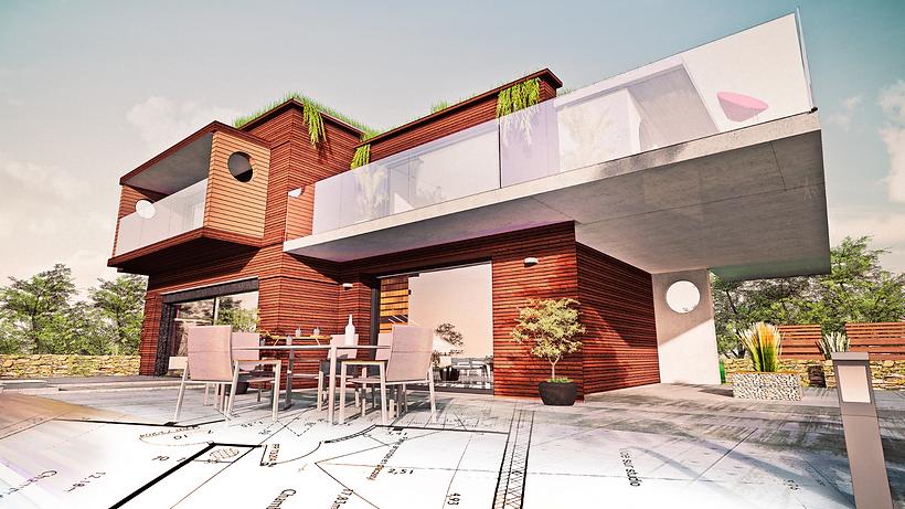 Modern ház exteriőr