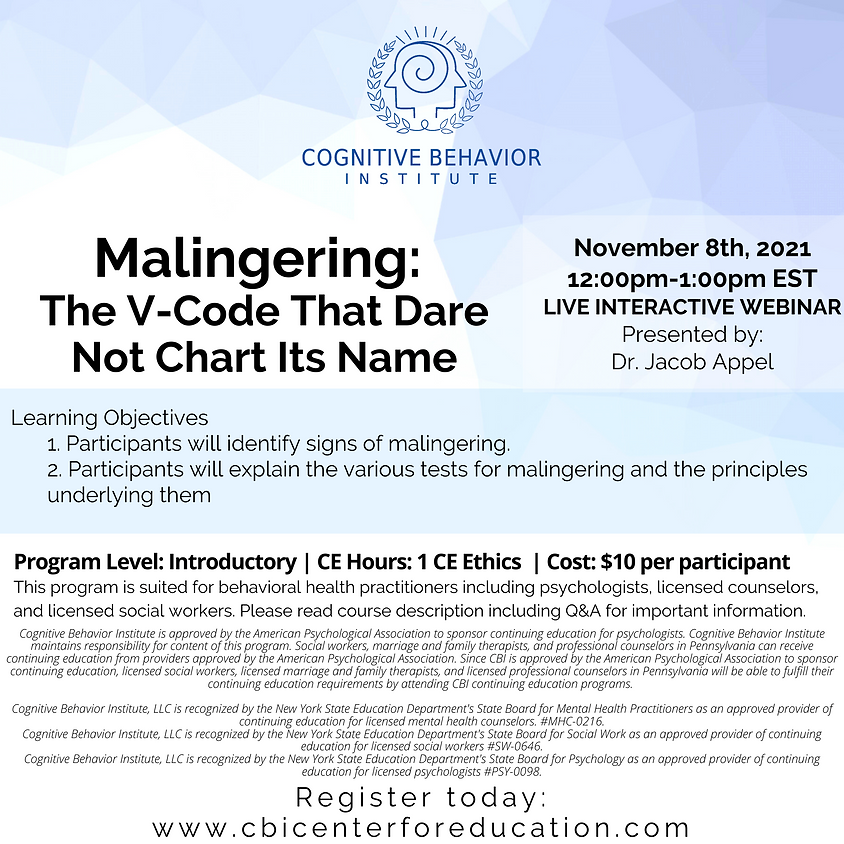 Malingering: The V-Code That Dare Not Chart Its Name