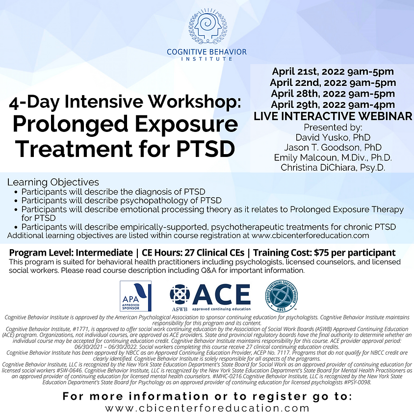 4 Day Intensive Workshop: Prolonged Exposure for PTSD