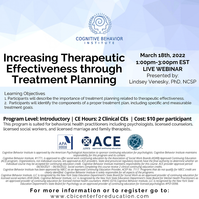 Increasing Therapeutic Effectiveness through Treatment Planning
