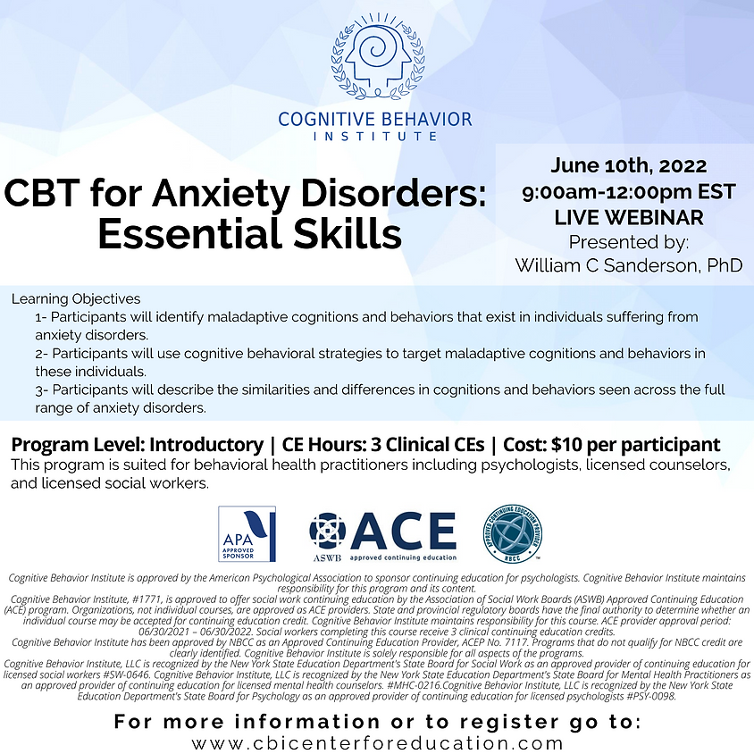 CBT for Anxiety Disorders: Essential Skills