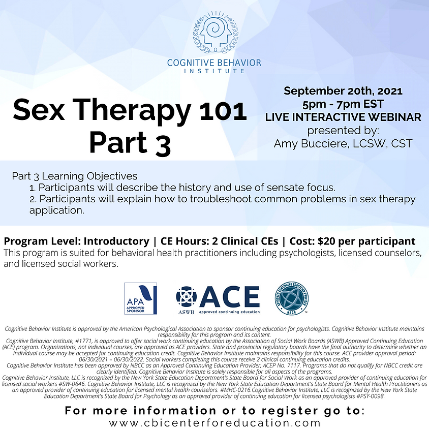 Sex Therapy 101 - Part Three