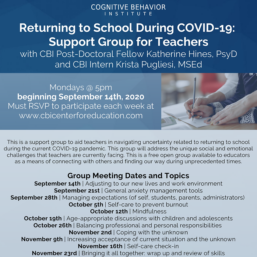 Returning to School During COVID-19: Support Group for Teachers Session 3