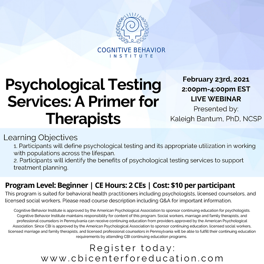 Psychological Testing Services: A Primer for Therapists