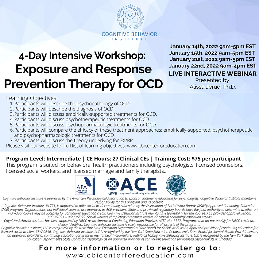SOLD OUT: SEE MARCH 2022 REGISTRATION 4-Day Intensive Workshop: Exposure and Response Prevention Therapy for OCD