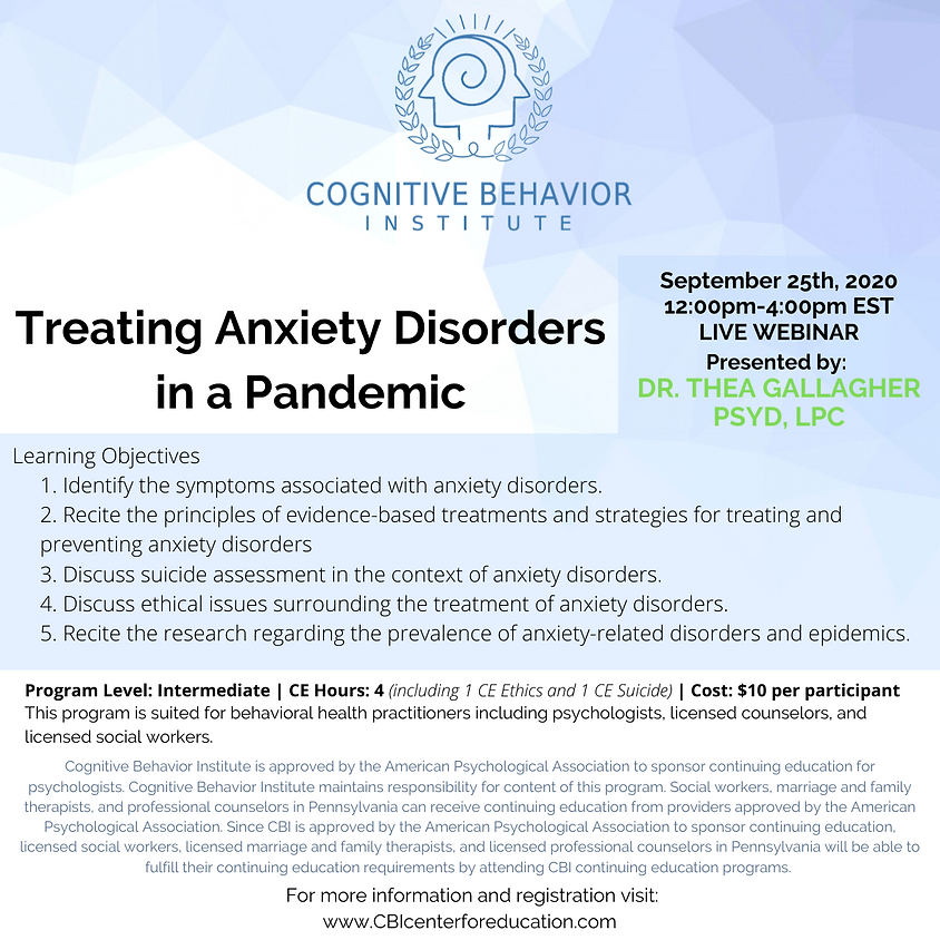 Treating Anxiety Disorders in a Pandemic