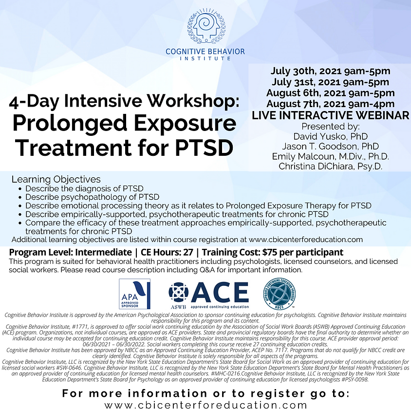 4-Day Intensive Workshop: Prolonged Exposure Treatment for PTSD