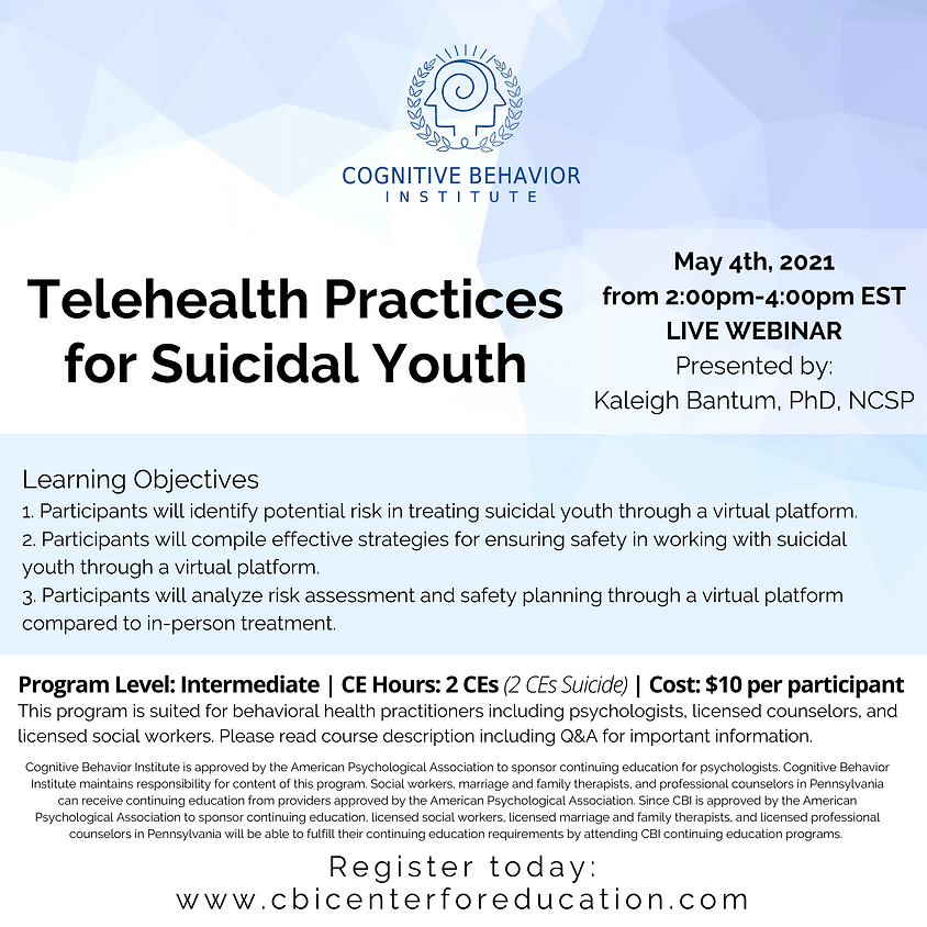 Telehealth Practices for Suicidal Youth