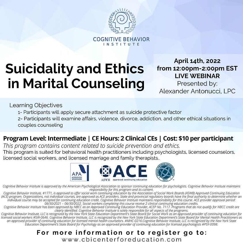 Suicidality and Ethics in Marital Counseling