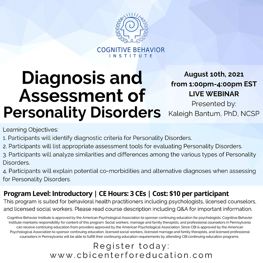 Diagnosis and Assessment of Personality Disorders