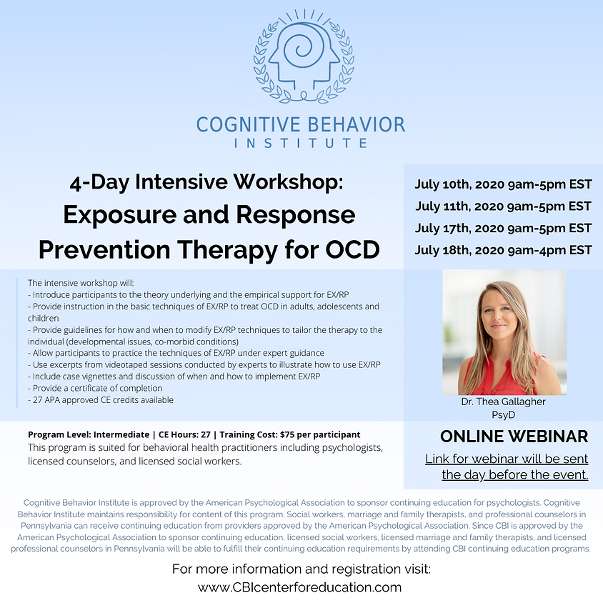 SOLD OUT see January 2020 Event Registration: 4-Day Workshop: Exposure and Response Prevention Therapy for OCD