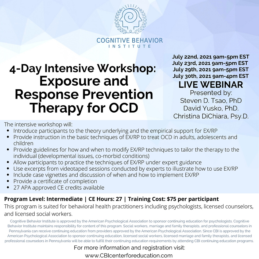 *SOLD OUT:  See January 2022 Registration*  4-Day Intensive Workshop: Exposure and Response Prevention Therapy for OCD