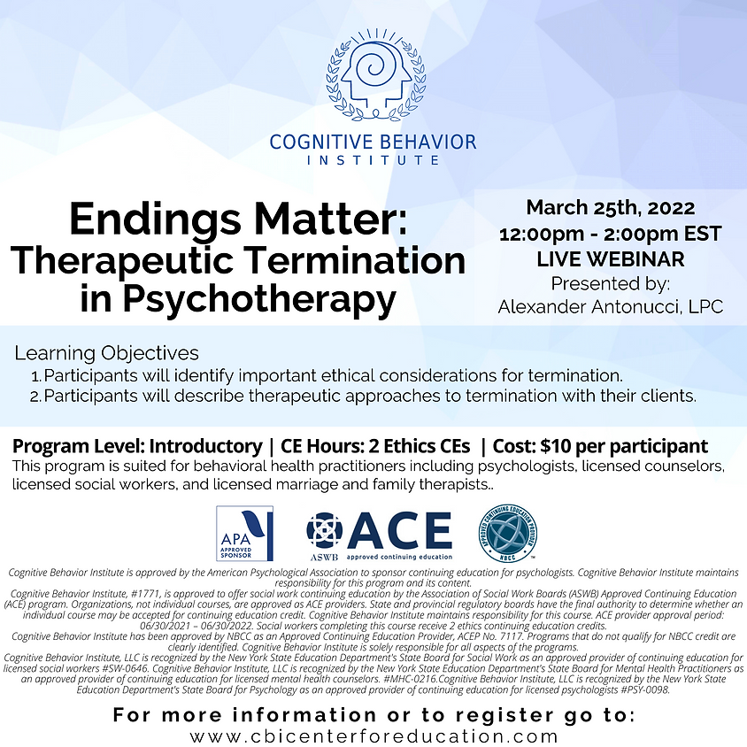Endings Matter: Therapeutic Termination in Psychotherapy