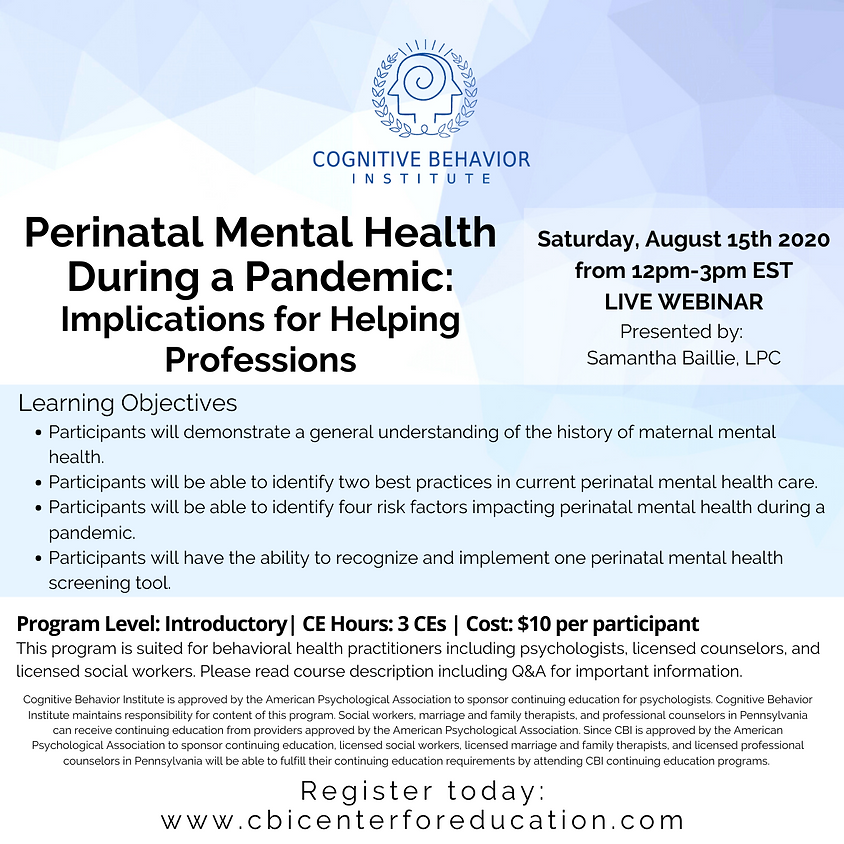 Perinatal Mental Health During a Pandemic: Implications for Helping Professions
