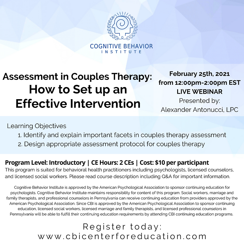 Assessment in Couples Therapy: How to Set up an Effective Intervention