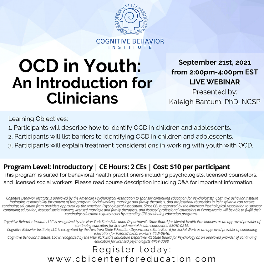 OCD in Youth : An Introduction for Clinicians
