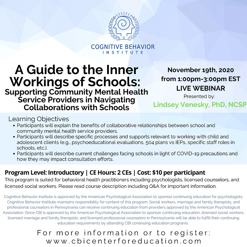 A Guide to the Inner Workings of Schools:  Supporting Community Mental Health Service Providers in Navigating...