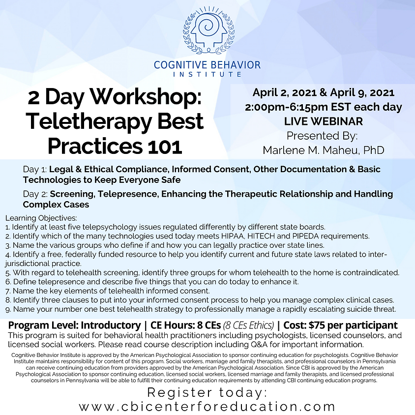 2 Day Workshop: Teletherapy Best Practices 101