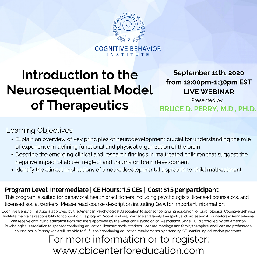 Introduction to the Neurosequential Model of Therapeutics