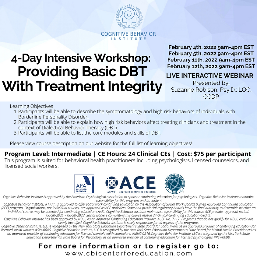 4-Day Intensive Workshop: Providing Basic DBT With Treatment Integrity