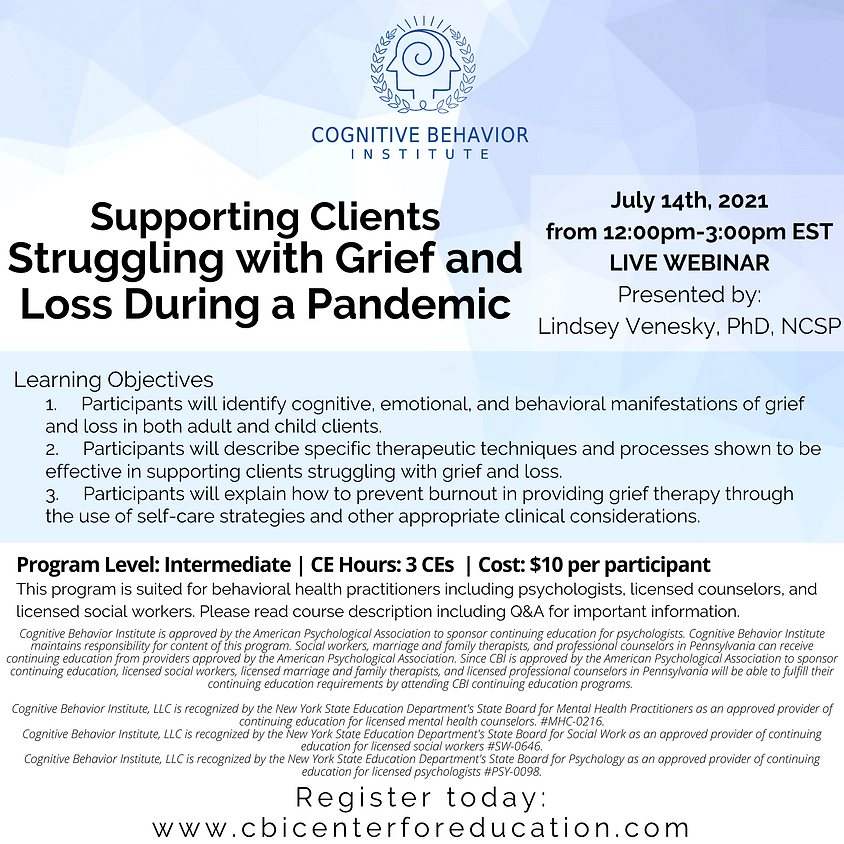 Supporting Clients Struggling with Grief and Loss During a Pandemic