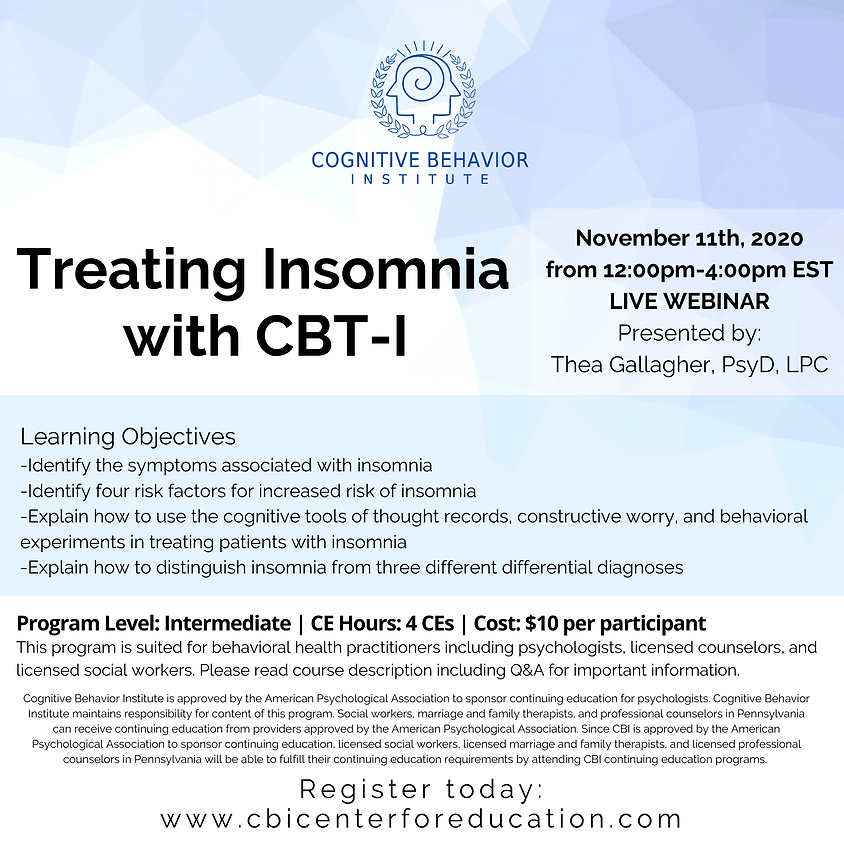 Treating Insomnia with CBT-I