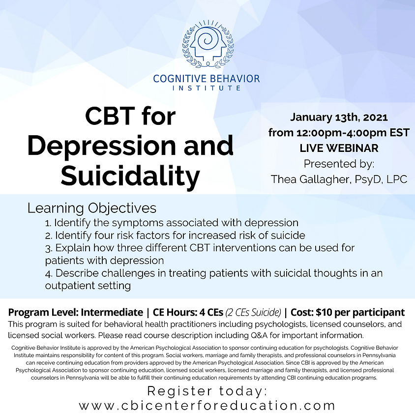 CBT for Depression and Suicidality