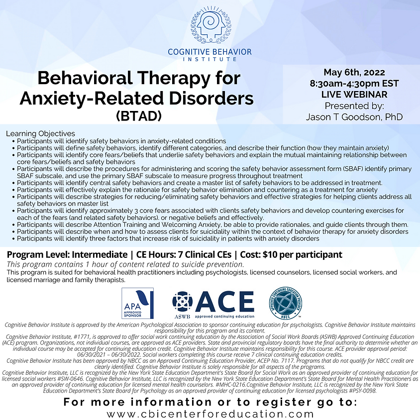 Behavioral Therapy for Anxiety-Related Disorders (BTAD)