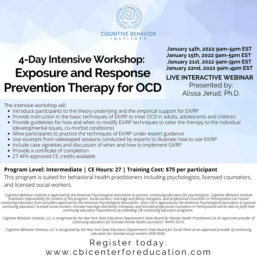 4-Day Intensive Workshop: Exposure and Response Prevention Therapy for OCD (1)
