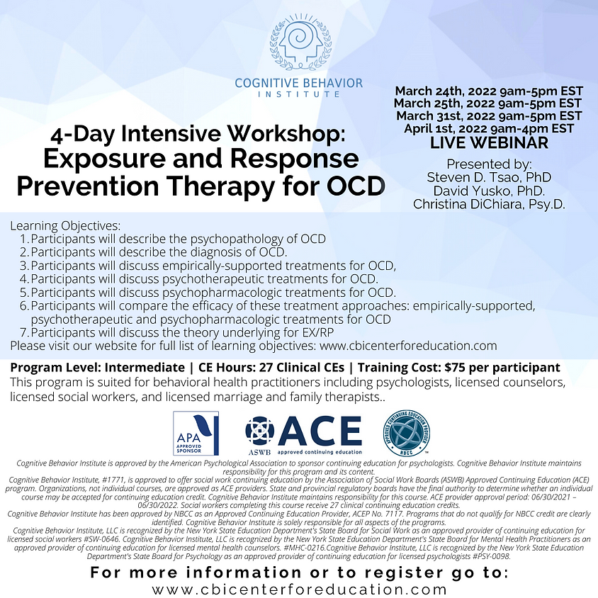4-Day Intensive Workshop: Exposure and Response Prevention Therapy for OCD