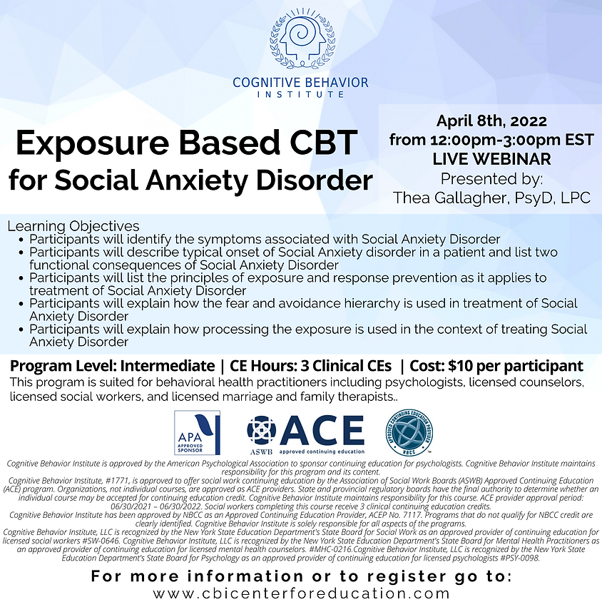 Exposure based CBT for Social Anxiety Disorder