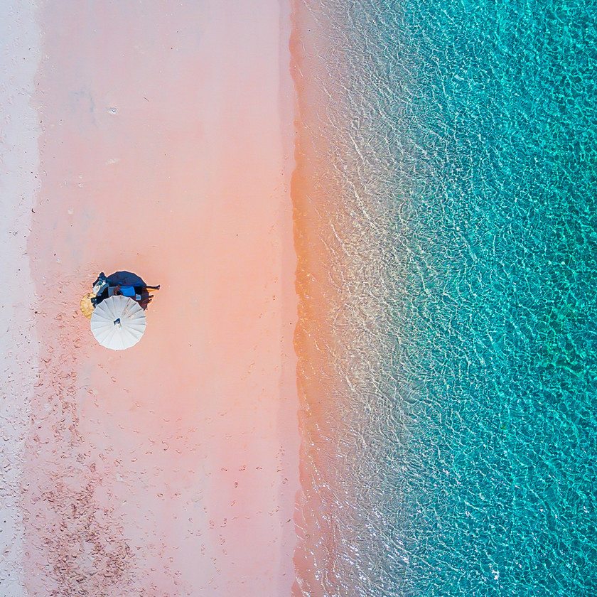 Beautiful pink beach in Komodo island, Flores, Indonesia. Private liveaboard tour to Komodo island and visit pink beach.