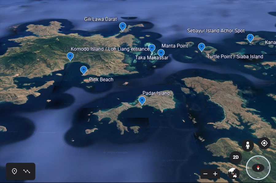 The map of Padar island in indonesia. it shows How you get to Padar island