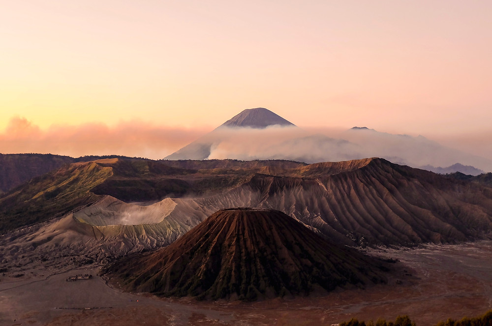 Indonesia located in Ring of Fire, Mount Krakatoa and Mount Bromo.