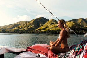 The best boat tour in Komodo island. The boat name is Laba Laba Boat. Enjoying sunrise and sunset on top of the boat. Exploring Komodo National park in private with Labalaba Boat.