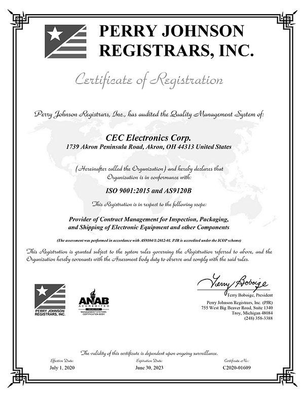 CEC Electronics Corp. Final Certificate
