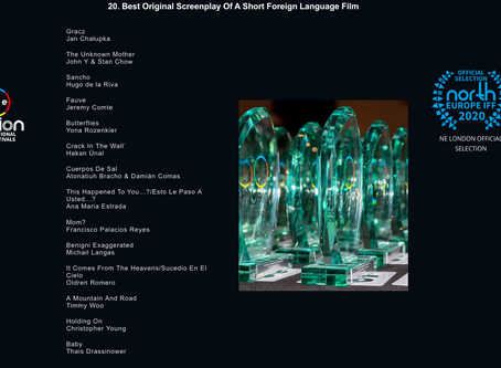 Hey, LONDON! BABY is nominated for Best Original Screenplay of a Short Foreign Language Film!