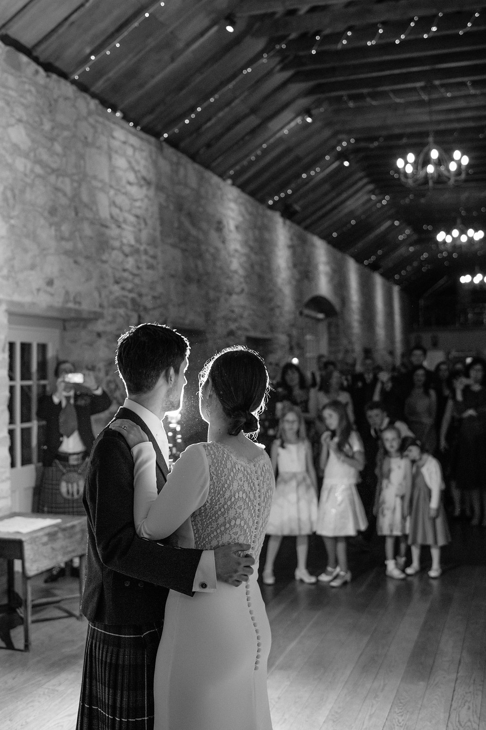 Bride and groom first dance at Kirknewton Stables