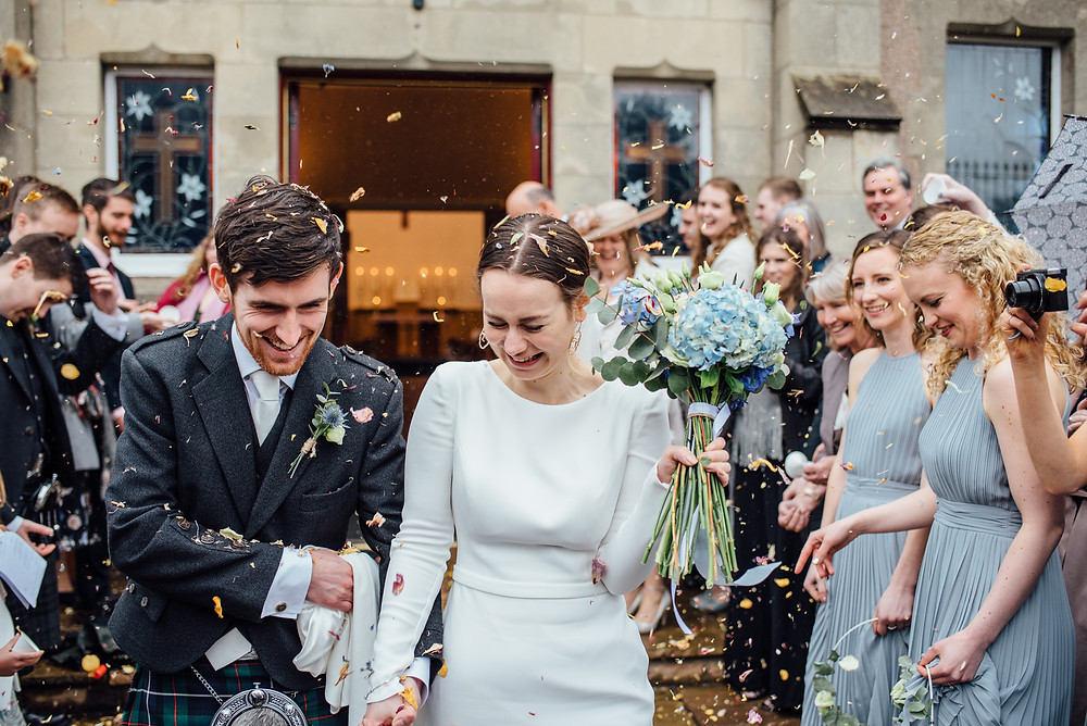 Joyous confetti moment at South Queensferry wedding