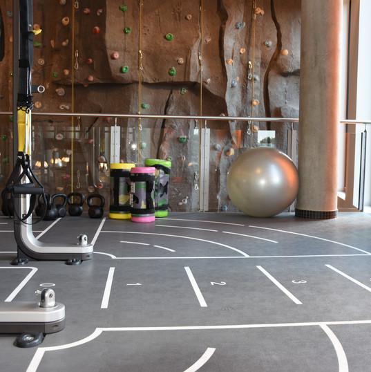 Trainieren im Fitnessstudio: TRX, Kettlebells, Corebags, Peziball und Kletterwand