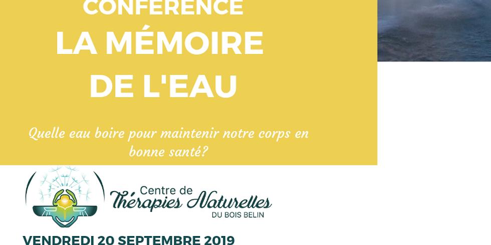 Conférence: La mémoire de L'EAU- 20 septembre à 19H30