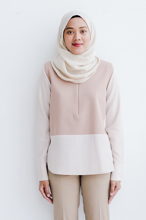The Panel Top (Light Brown & Cream)