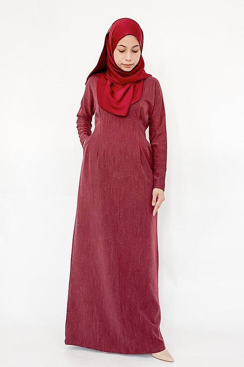 Faith Dress in Maroon