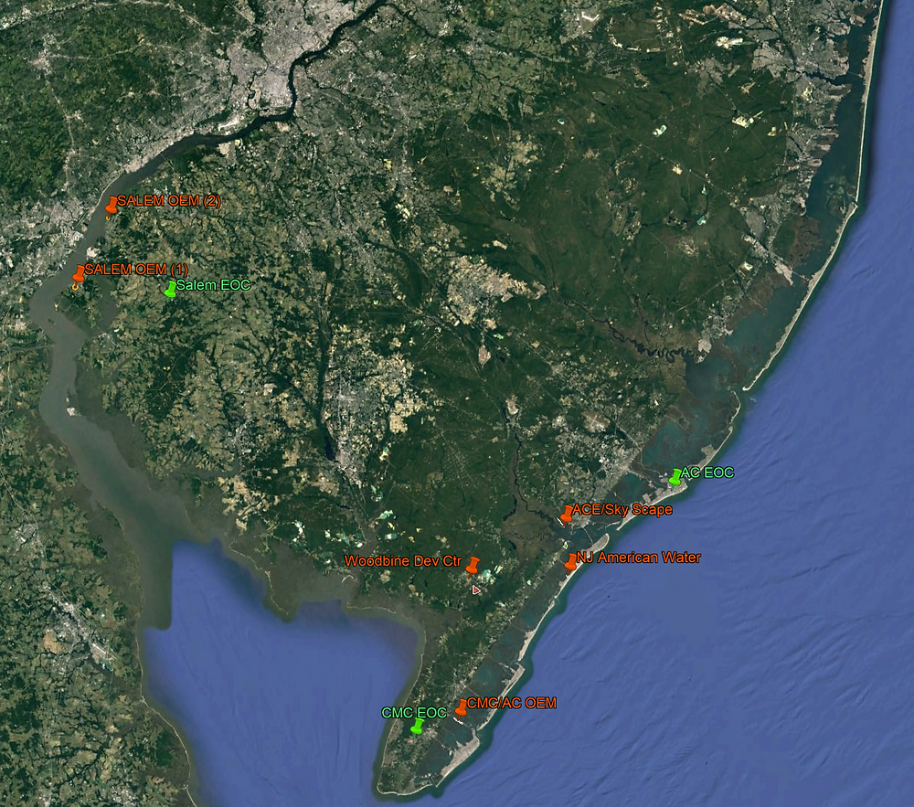Map representation of simultaneous UAS/sUAS operations across South Jersey during the event.