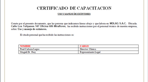 CERTIFICADO DE CAPACITACIÓN EXTINTORES