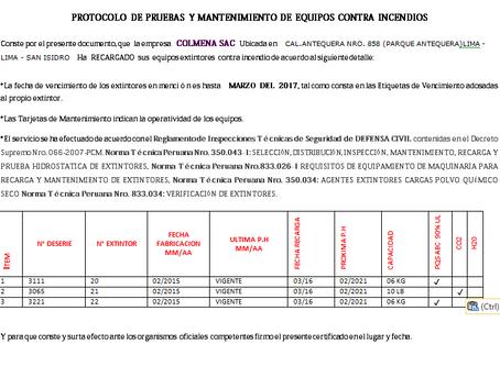 PROTOCOLO Y DOCUMENTOS  EXTINTORES