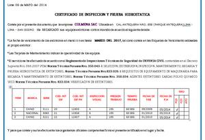 CERTIFICADO DE PRUEBA HIDROSTATICA